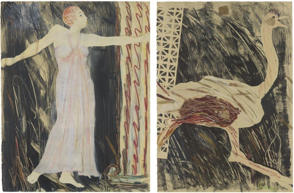 Emma Amos, Josephine and the Ostrich, diptych of color monotype, stencil and color pastels with collage, 1984. $20,000 to $30,000.