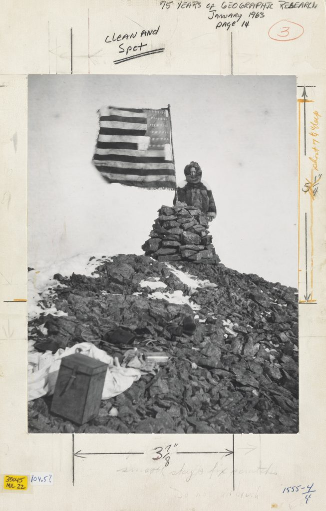 Lot 96: Robert Peary, His Flag Waves above Cape Stallworthy (Cape Thomas Hubbard), ferrotyped silver print, 1906. $8,000 to $12,000.