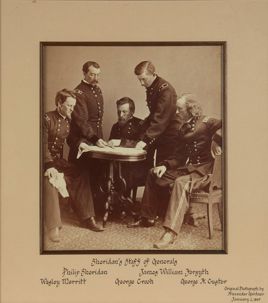 Lot 80: Alexander Gardner, Sheridan's Staff of Generals, albumen print, featuring a young George A. Custer, 1865. $6,000 to $9,000.