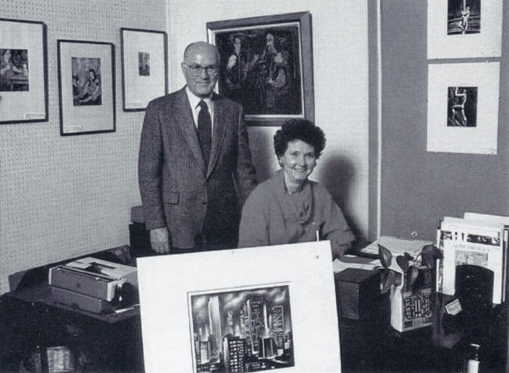 Black and white photograph of Betty and Douglas Duffy of the Bethesda Art Gallery