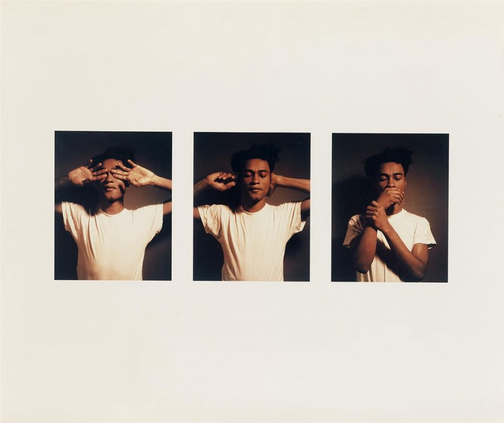 Carrie Mae Weems, See No Evil, Hear No Evil, Speak No Evil, three color chromogenic prints of a young man covering his eyes, hears and mouth, 1995.