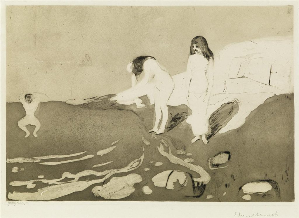 Edvard Munch, Badende Kvinner, etching of women, 1895.