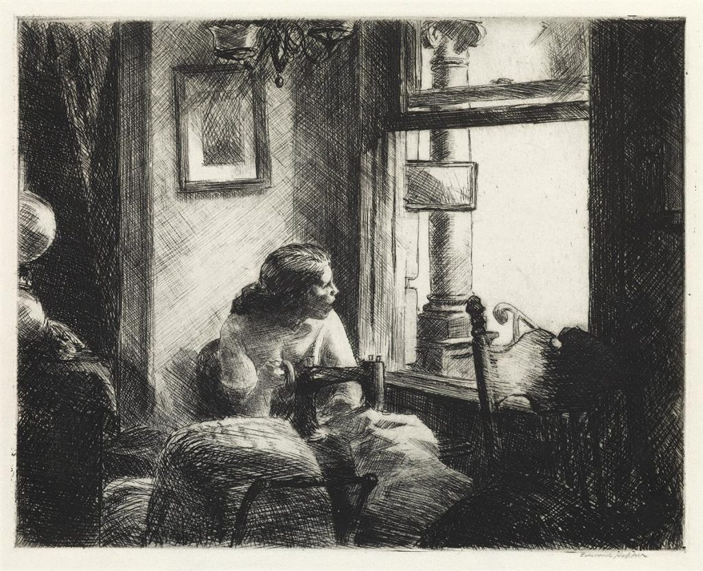 Edward Hopper, East Side Interior, black and white etching of a woman sewing and looking out a window, 1922.