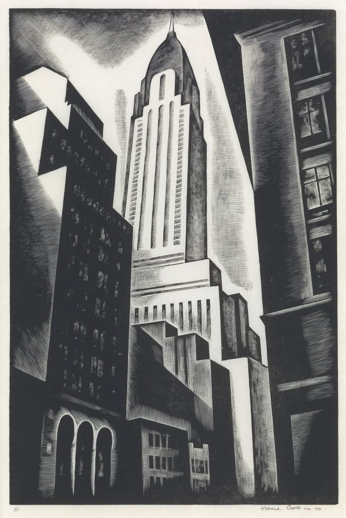 Howard Cook, Chrysler Building, black and white wood engraving of the Chrysler building, 1930.