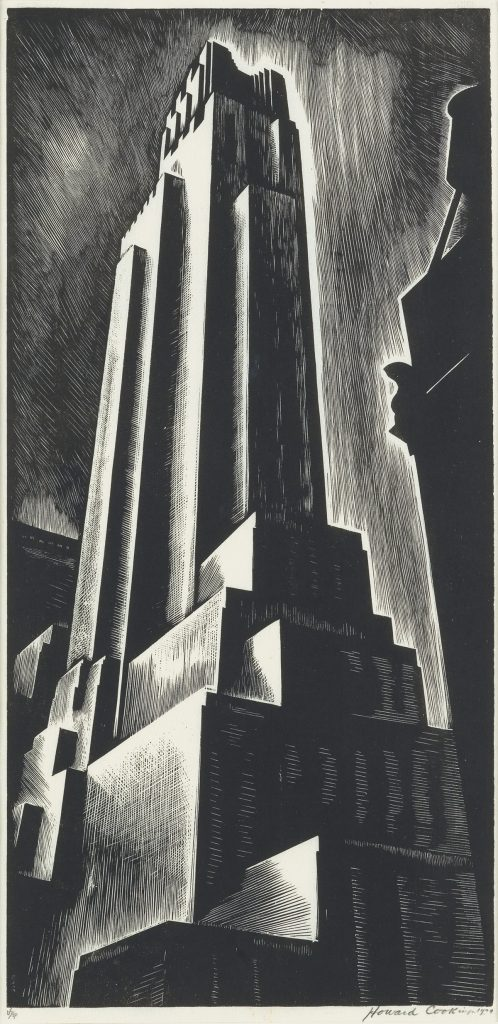 Howard Cook, Skyscraper, black and white wood engraving of a skyscraper, 1928.