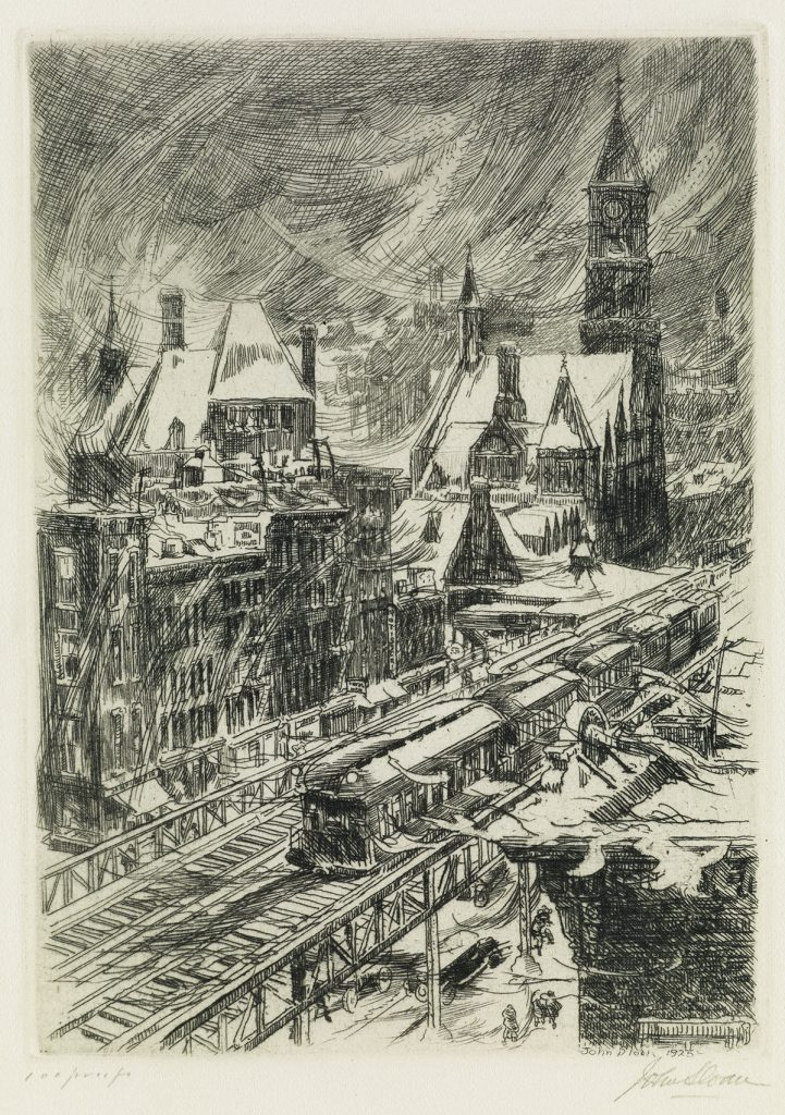 John Sloan, Snowstorm in the Village, black and white etching of a city snowstorm with a train, 1925.