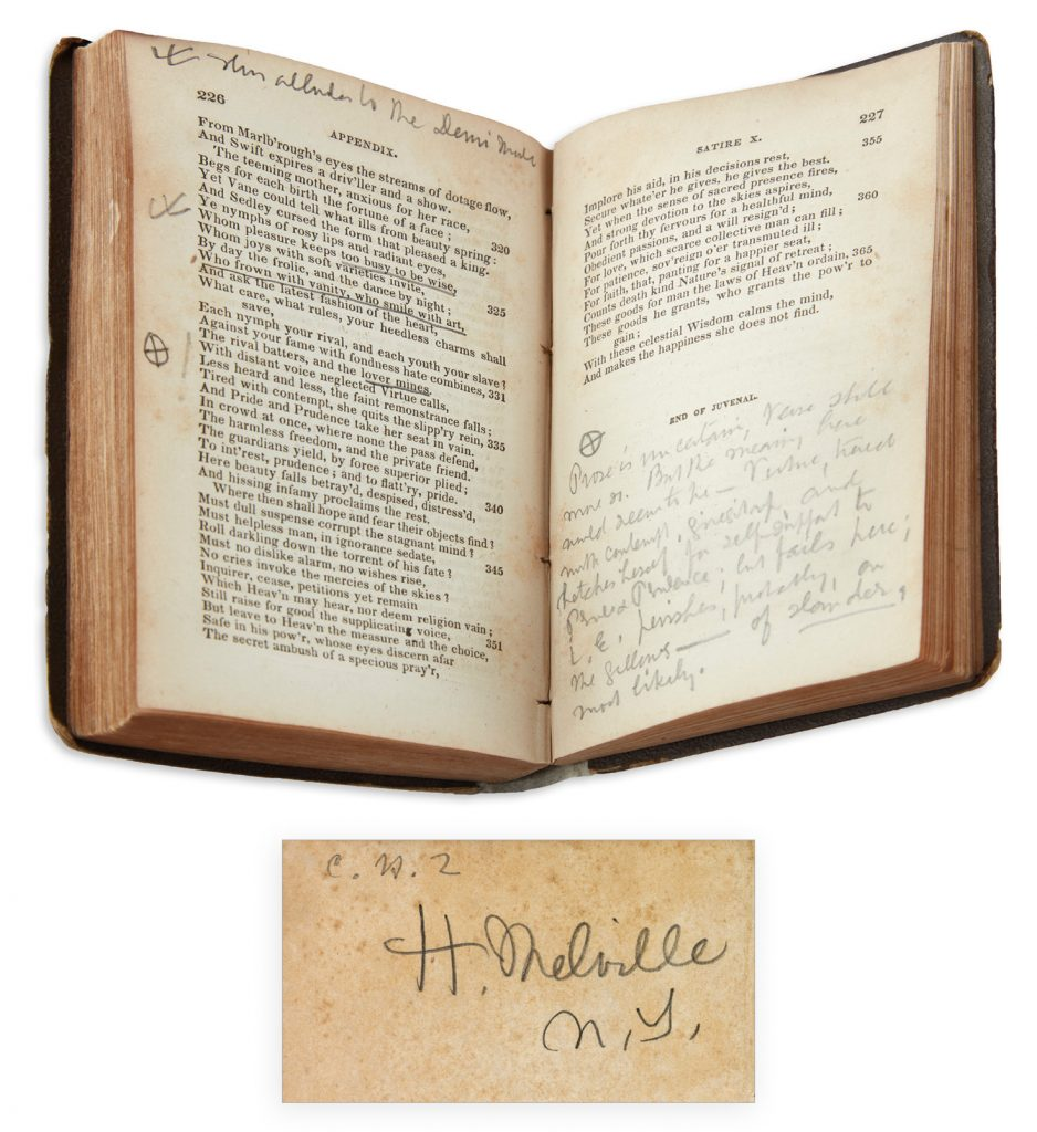 Lot 178: Herman Melville, two volumes of classic poetry, one signed, both annotated throughout, circa 1860. $40,000 to $60,000.