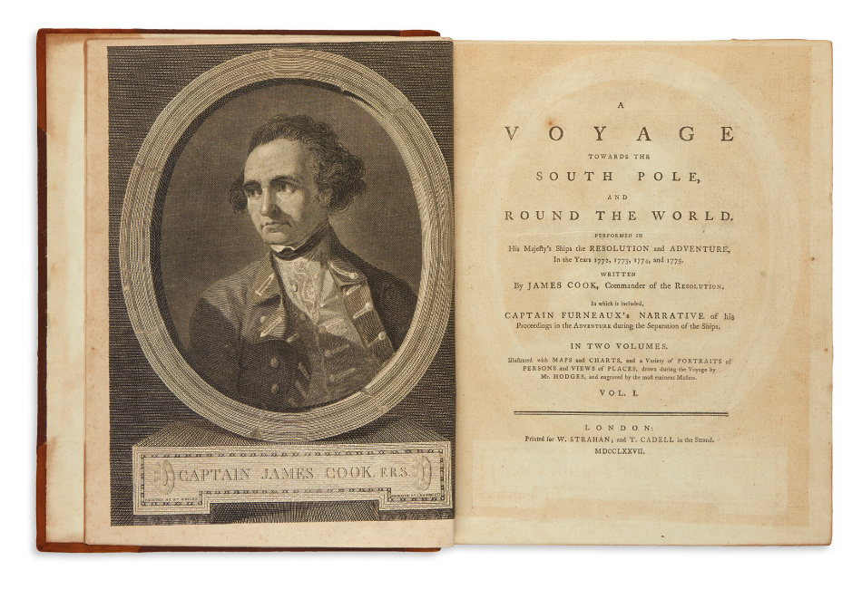 Lot 115: James Cook, complete set of the Southern Hemisphere, South Pole, and Pacific Ocean voyages, nine volumes, London, 1773-84. $10,000 to $15,000.