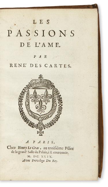 Lot 191: René Descartes, Les Passions de l'Ame, first edition, Paris, 1649. $3,000 to $5,000.
