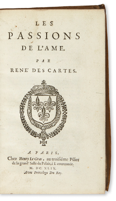 Lot 191: René Descartes, Les Passions de l'Ame, first edition, Paris, 1649. $3,000 to $5,000.