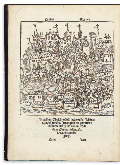 Lot 15: Nicolaus Bertrand, Opus de Tholosano[rum] Gestis ab Urbe Condita, first edition of a history of Toulouse, including the earliest known view of the city, Toulouse, 1515. $2,000 to $3,000.