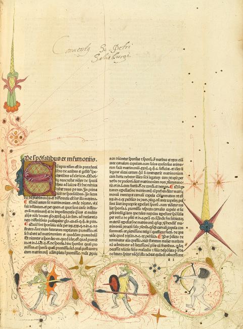 Nicolaus Panormitanus de Tudeschis, Lectura super V libris Decretalium, commentary on the decretals of Gregory IX, Basel, 1480-81. $5,000 to $7,000.