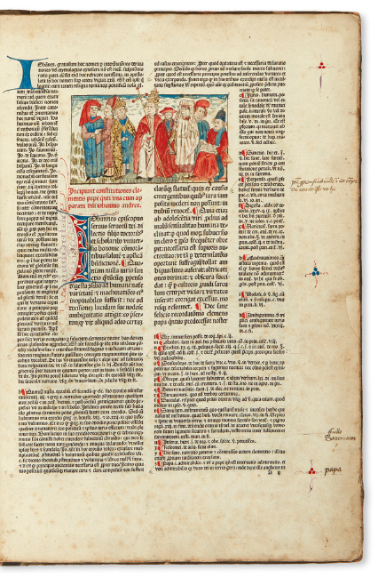 Pope Clemens V, Constitutiones, collection of decretals compiled during the 1305-14 pontificate of Clemens V, Nuremberg, 1482. $2,500 to $3,500.