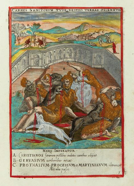 Lot 41: Niccolò Circignani, Ecclesiae militantis triumphi, hand-colored copy of a collection of martyrdom scenes, Rome, 1585. $3,000 to $5,000.