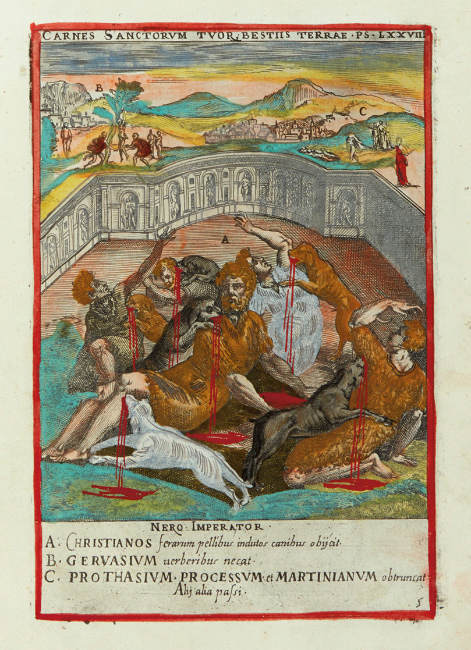 Lot 41: Niccolò Circignani, Ecclesiae militantis triumphi, hand-colored copy of a collection of martyrdom scenes, Rome, 1585. $3,000 to $5,000.
