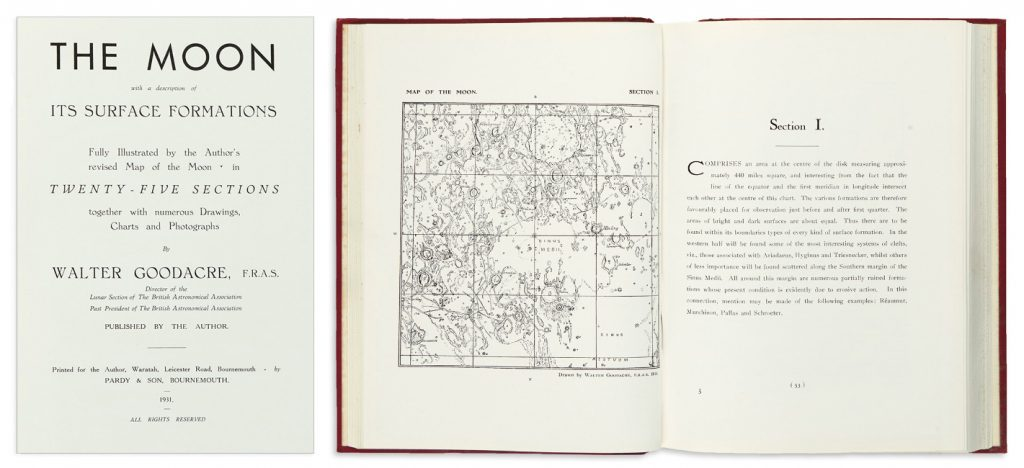 Lot 144: Walter Goodacre, The Moon with a Description of its Surface Formations, first edition, Bournemouth, 1931. $800 to $1,200.