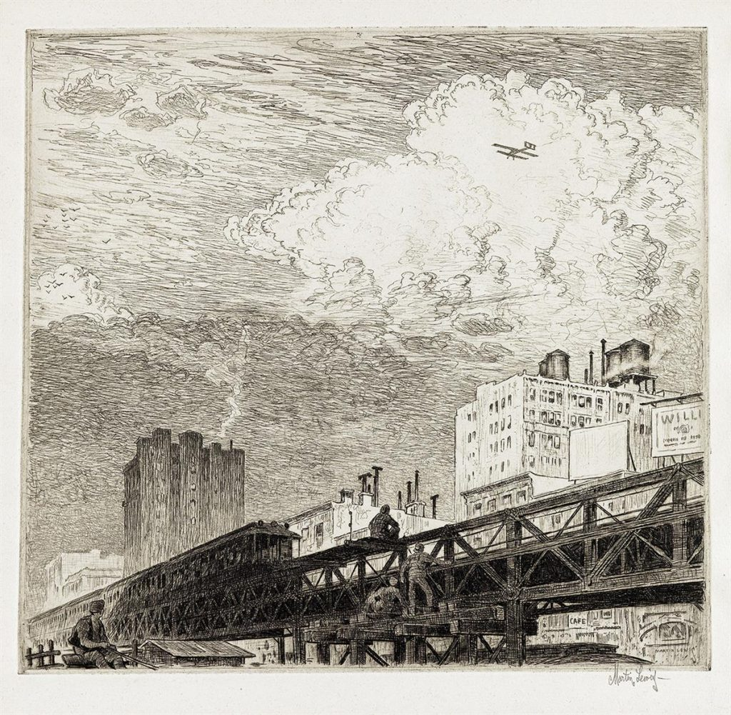 Martin Lewis, Men Working on Elevated Train Tracks, Looking at Airplane in Sky, black and white etching, circa 1919.