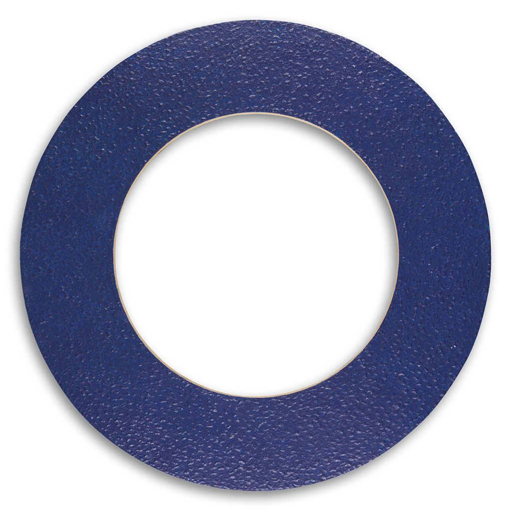 McArthur Binion, Macon: Blue, marking crayon on a round circle on birch plywood, 2003.