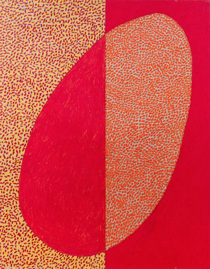 McArthur Binion, Rutabaga: In the Sky, red and yell oil stick, dixon wax crayon in the shape of an oval on aluminum, 1978-79.