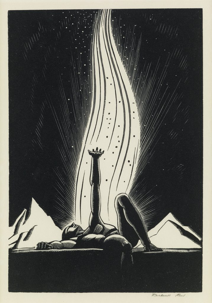 Rockwell Kent, The Flame, black and white wood engraving of a man laying down and reaching towards the sky with an upward reaching flame in the background, 1928.