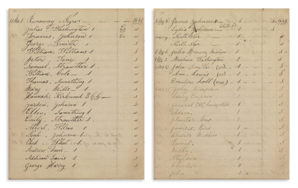 Account pages documenting the Underground Railroad from the collection of Shugart family papers.