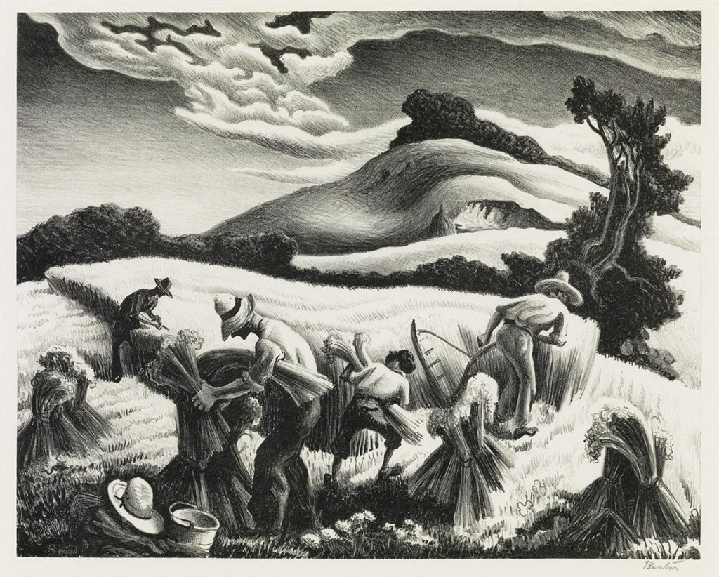 Thomas Hart Benton, Cradling Wheat, black and white lithograph of farmers tilling wheat, 1939.