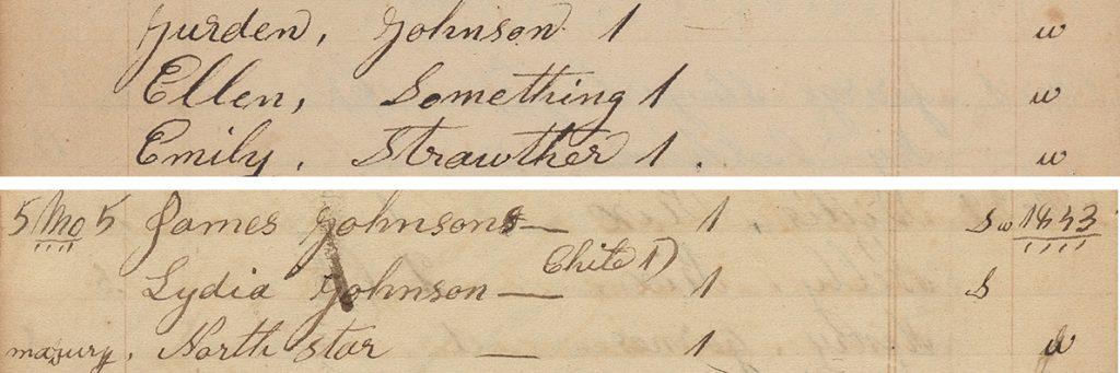 """Detail of account pages documenting passengers of the Underground Railroad from the collection of Shugart family papers, with the Names """"Ellen Something,"""" """"Emily Strawther,"""" """"James Johnson,"""" """"Lydia Johnson,"""" and """"North Star,"""" 1838-81."""