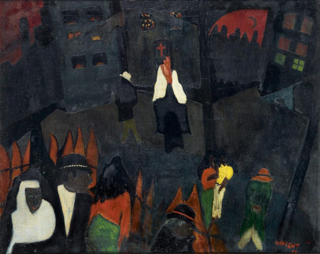 Vincent D. Smith, Street Scene, from Saturday Night in Harlem Series, oil on canvas of people outside of a church, 1954.