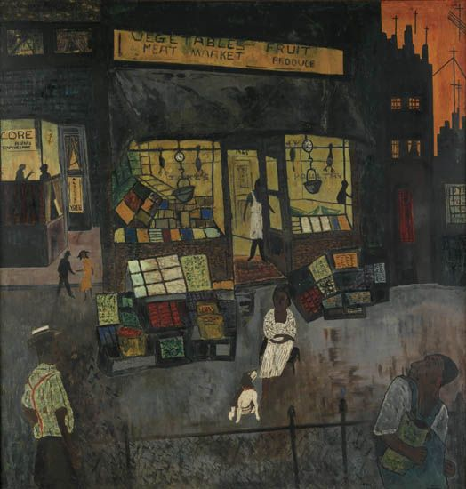Vincent D. Smith, The Voices Are Stilled, (First New York Office of C.O.R.E.), oil on masonite of a street scene outside of a market, 1965.