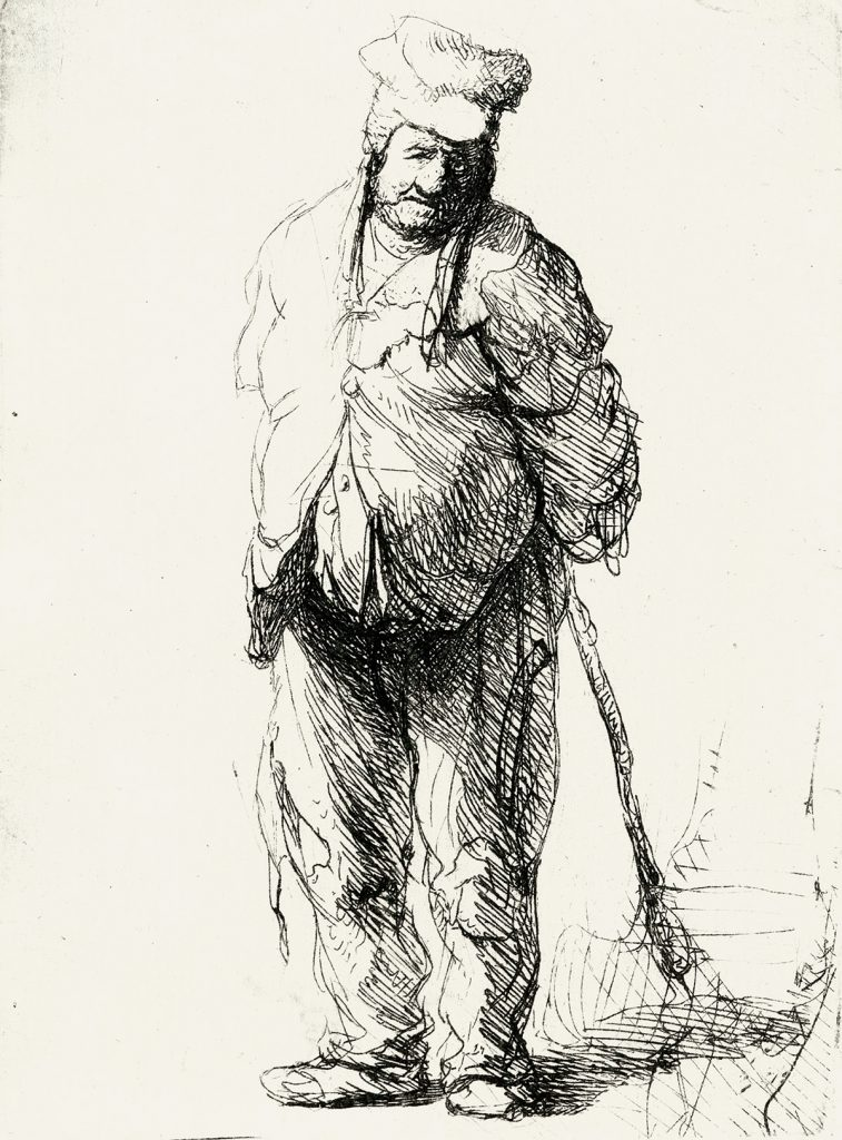 Lot 90: Rembrandt van Rijn, A Ragged Peasant with Hands Behind Him, Holding a Stick, etching circa 1633. $10,000 to $15,000.