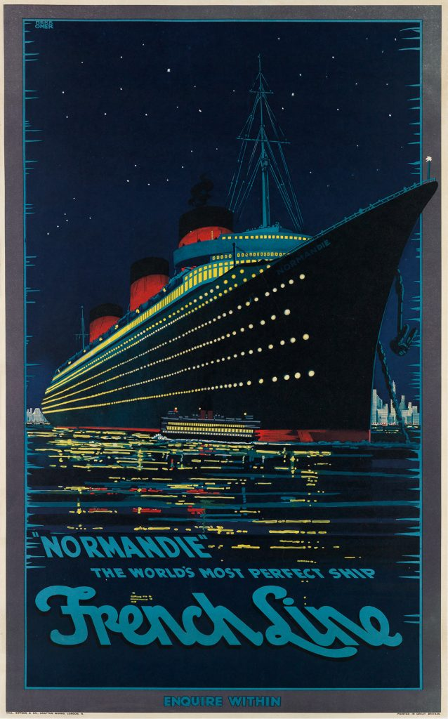 "Hubert Herkomer, ""Normandie"" / The World's Most Perfect Ship / French Line, 1939. $15,000 to $20,000."