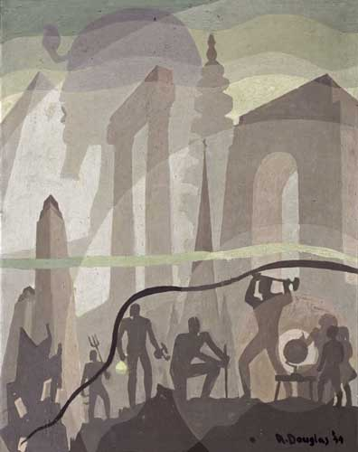 Aaron Douglas, Building More Stately Mansions, oil on canvas board with architecture structures in the back, pyramids, sphinx, arches, and workers figures building in the foreground, 1944.