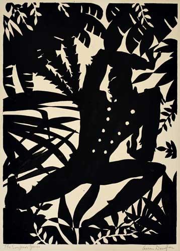 Aaron Douglas, Emperor Jones, gouache silhouette of an acrobatic figure in the jungle, 1926.