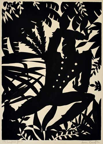 Aaron Douglas, Emperor Jones, gouache silhouette of an acrobatic figure in the jungle, 1926.