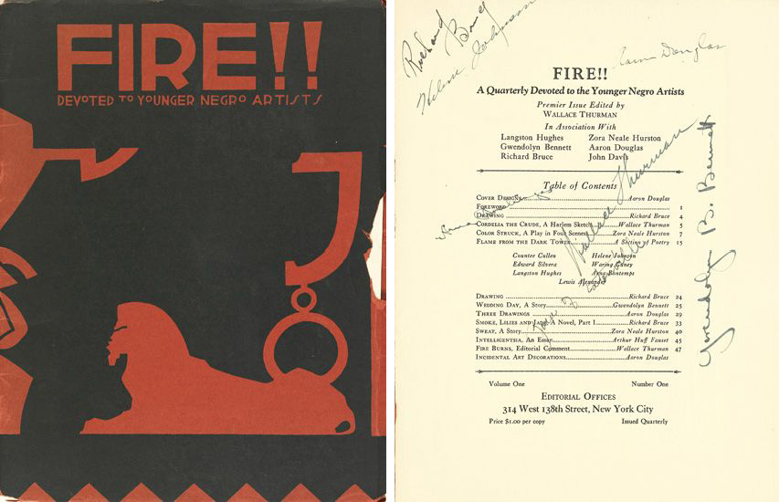Cover of Fire!! A Quarterly Devoted to Younger Negro Artists, 1926, next to a photo of the signed table of contents. Artwork by Aaron Douglas