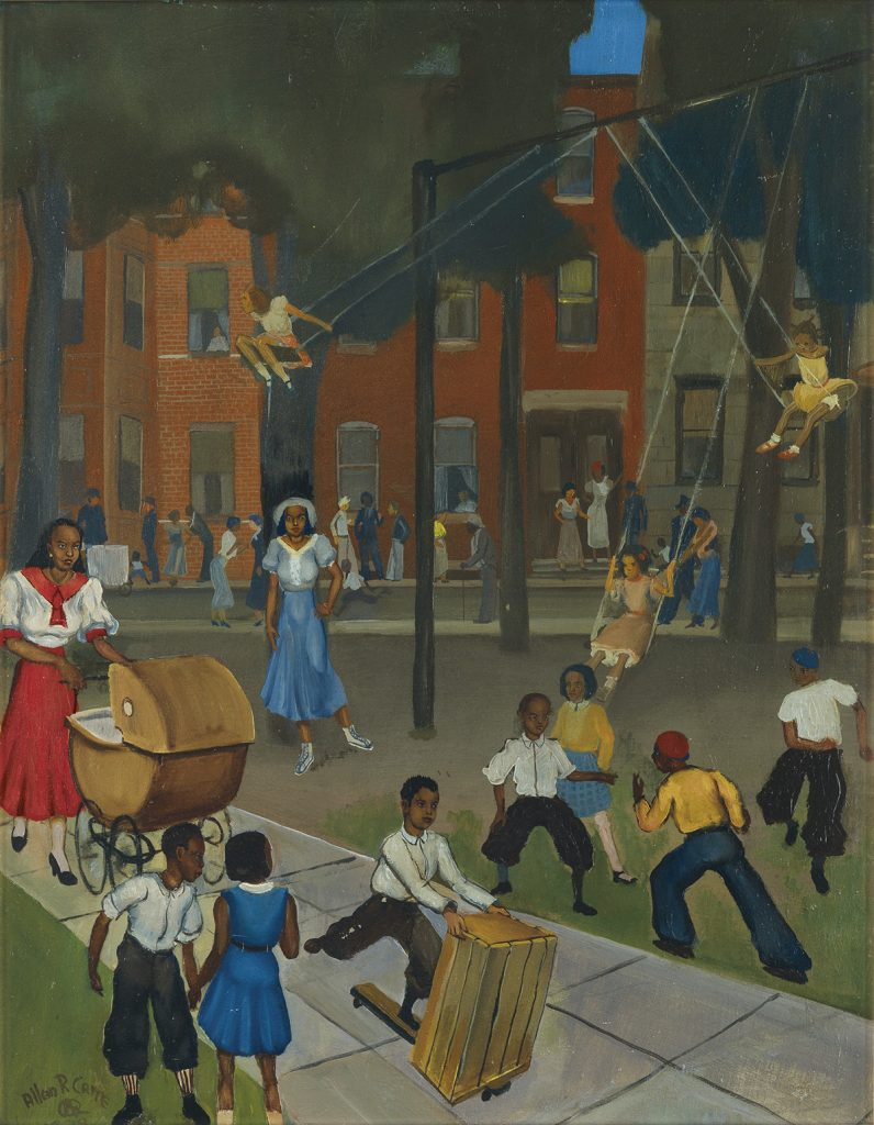 Allan Rohan Crite, Play at Dark (Westminster Street, Madison Park), oil of a night sceen of children and mothers at a park on board, 1935. This sold for an auction record.