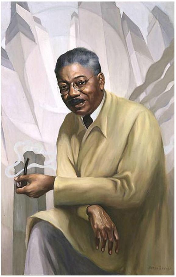 Betsy Graves Reyneay, portrait of artist Aaron Douglas with a smoking pipe, oil on canvas, 1953.