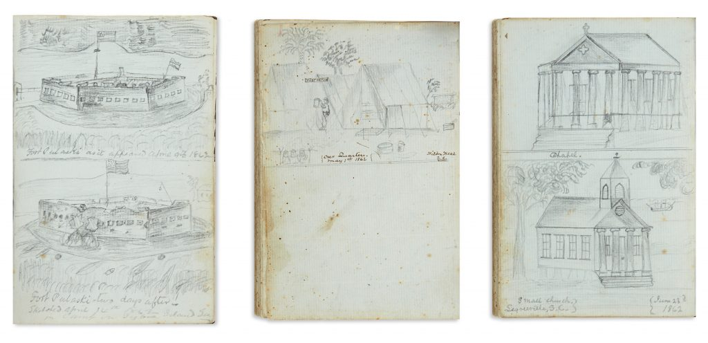 Three manuscript diary pages with pencil drawings of battles and forts from the Civil War.