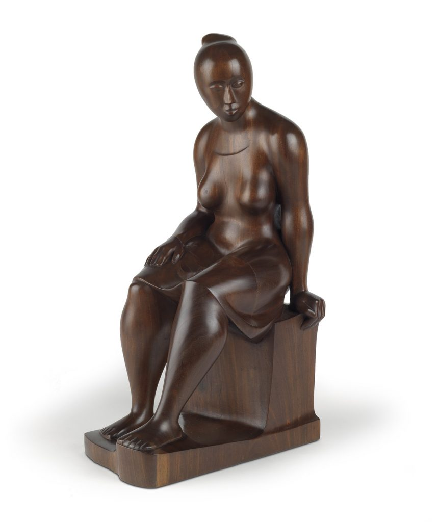 Elizabeth Catlett, Seated Woman, carved mahogany sculpture of a woman sitting, 1962.