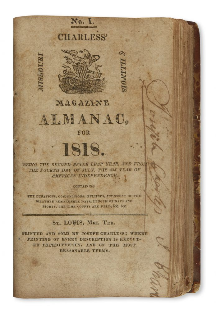 Cover page of volume of early St. Louis almanacs from 1813-33.