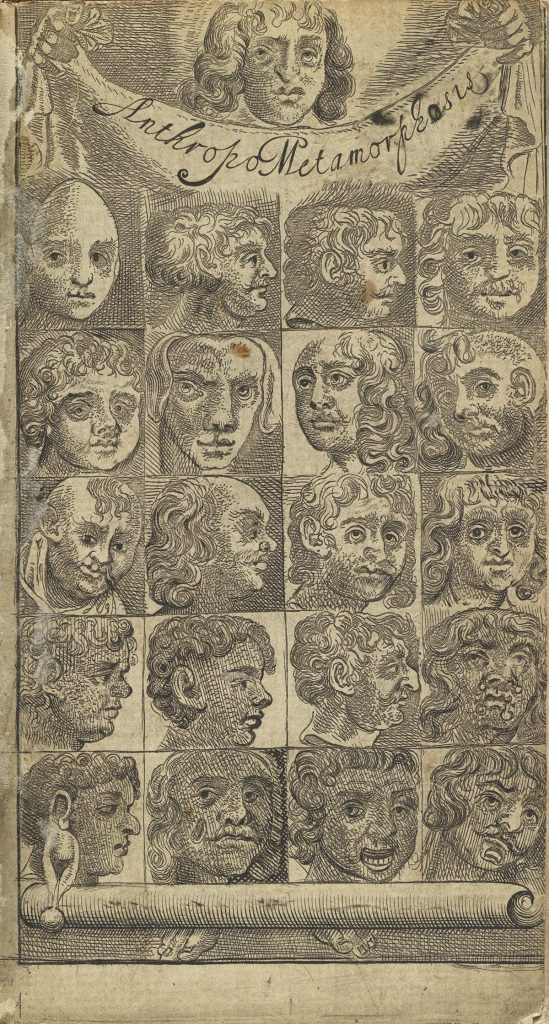 John Bulwer, Anthropometamorphasis, first edition, etching of different faces in rows of four, London, 1650.