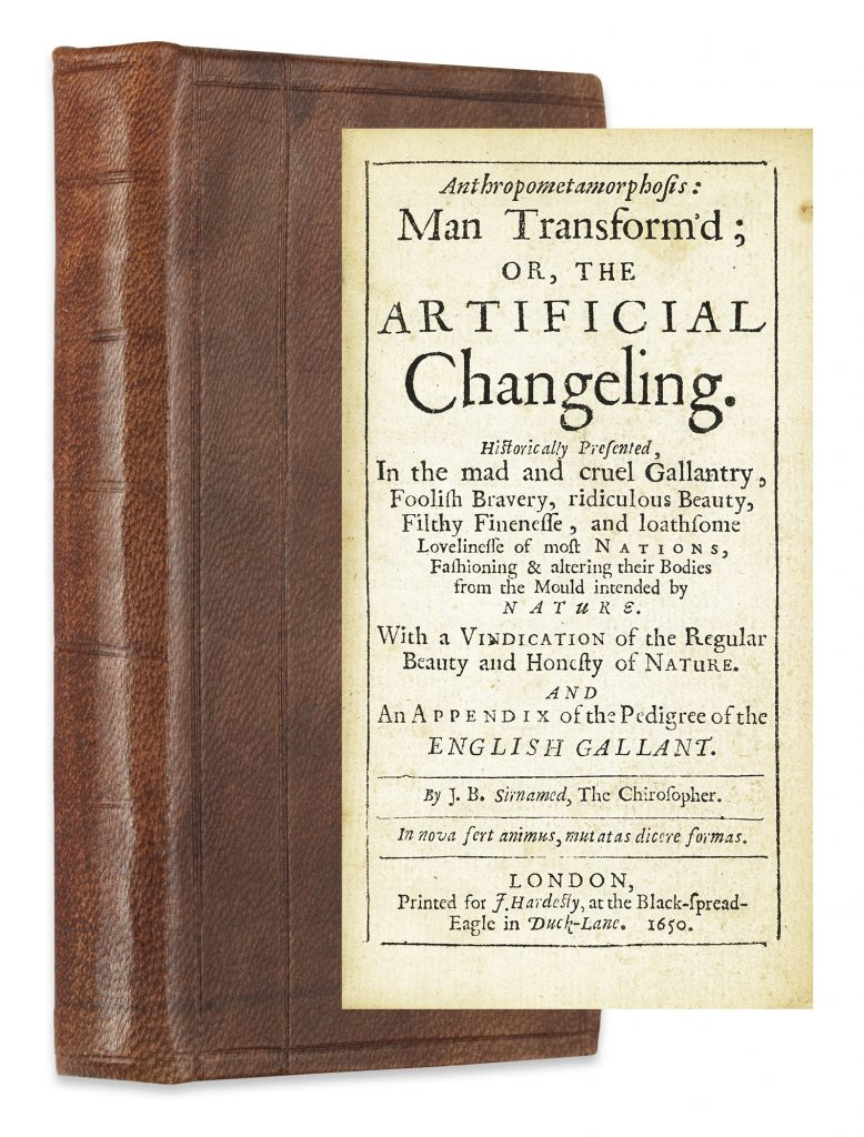 John Bulwer, Anthropometamorphosis, first edition, showing the cover with title page, London, 1650.