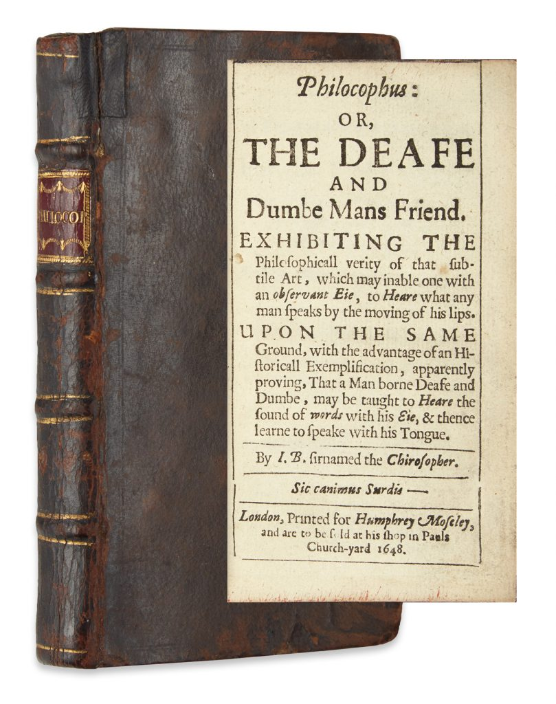 John Bulwer, Philocophus, first edition, showing cover and title page, London, 1648.