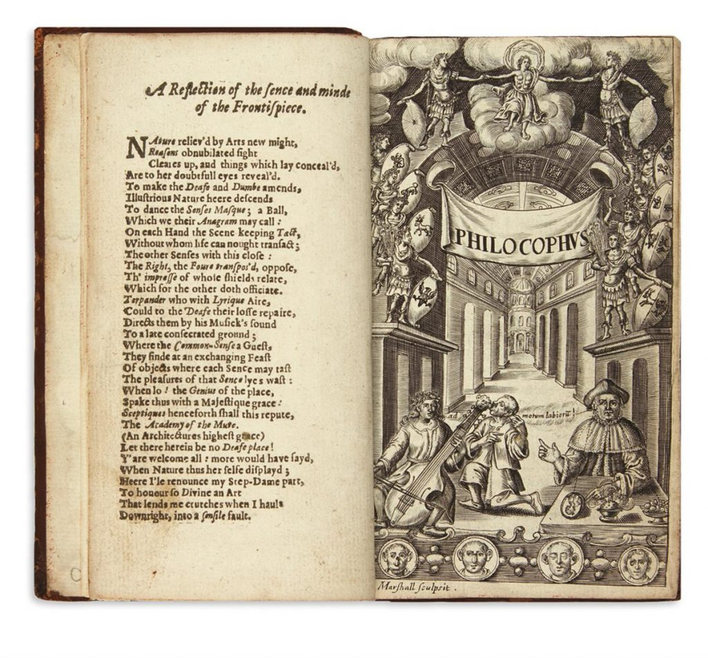 John Bulwer, Philocophus, first edition, showing a two page spread of title page, London, 1648.