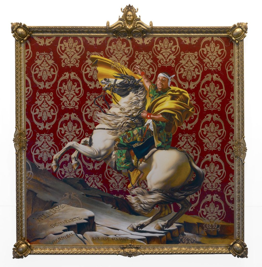 Kehinde Wiley, Napoleon Leading the Army over the Alps, oil on canvas of a young black man on a bucking horse, 2005.