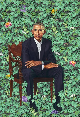 Kehinde Wiley, President Barack Obama, oil on canvas portrait of Barack Obama sitting in front of a wall of vines, 2018.