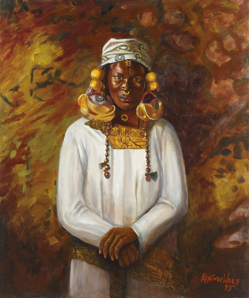 Kehinde Wiley, Untitled (Fulani), oil on canvas of a portrait of a Fulani woman, 1993.