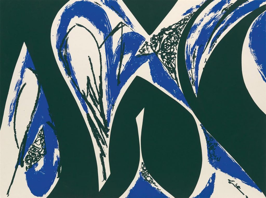 Lee Krasner, Free Space, color screenprint, abstract waves of blue and black, 1975.