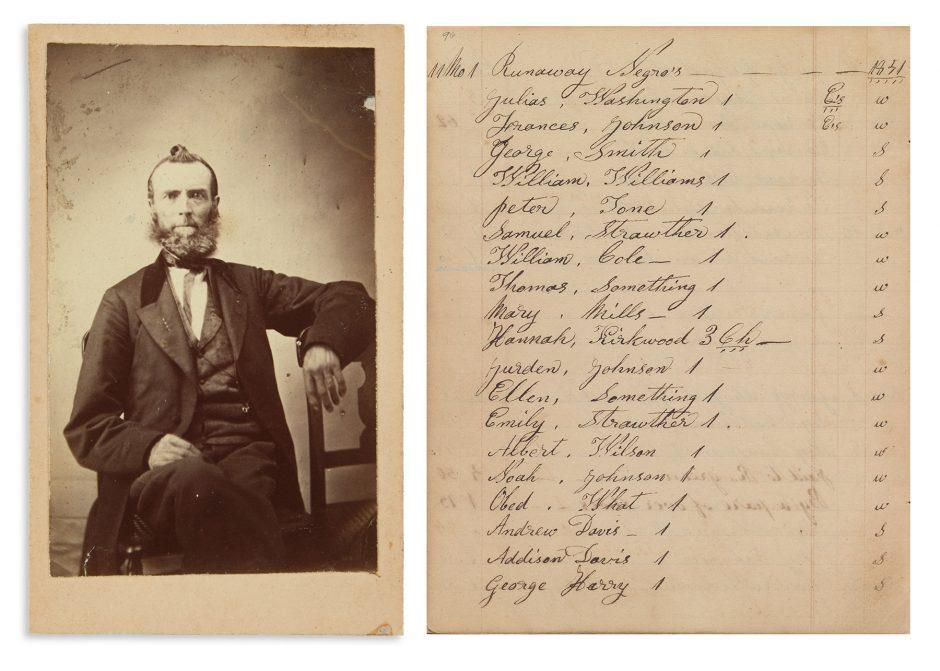 Photograph of Zachariah Taylor Shugart alongside a log of passengers on the Underground Railroad.