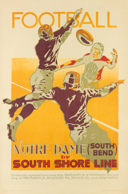 Otto Brennemann, Football / Notre Dame by South Shore Line, 1926. $7,000 to $10,000.
